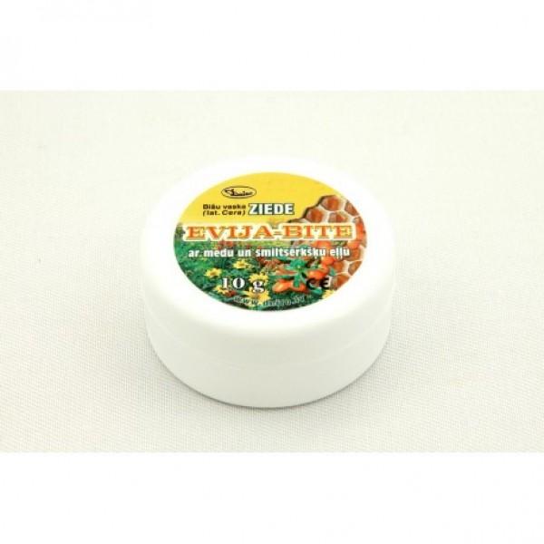 """Bišu vaska ziede """"Evija-Bite"""" ar medu un smiltsērkšķu eļļu 10 g"""
